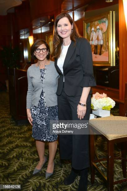 President of CBS Entertainment Nina Tassler and Actress Geena Davis attend the Advancing Women Executives afternoon tea with guest speakers Geena...