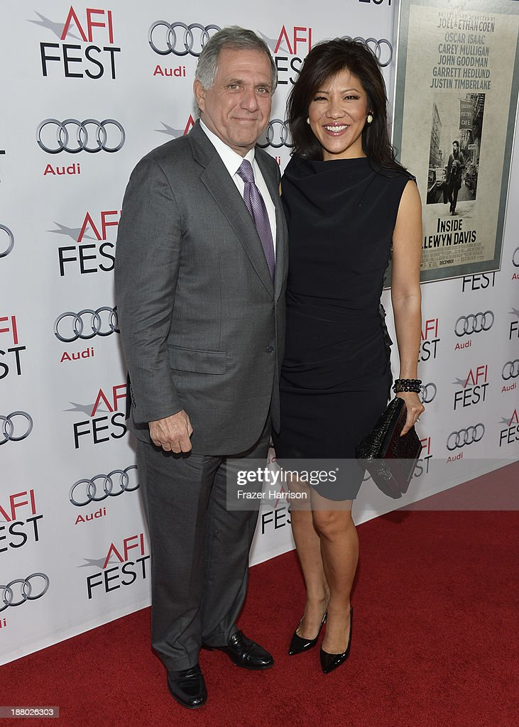 President of CBS Leslie Moonves (L) and host Julie Chen attend the AFI FEST 2013 presented by Audi closing night gala screening of 'Inside Llewyn Davis' at TCL Chinese Theatre on November 14, 2013 in Hollywood, California.