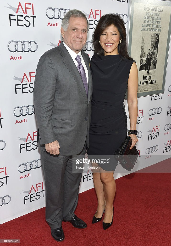 President of CBS, Leslie Moonves (L) and host Julie Chen attend the AFI FEST 2013 presented by Audi closing night gala screening of 'Inside Llewyn Davis' at TCL Chinese Theatre on November 14, 2013 in Hollywood, California.