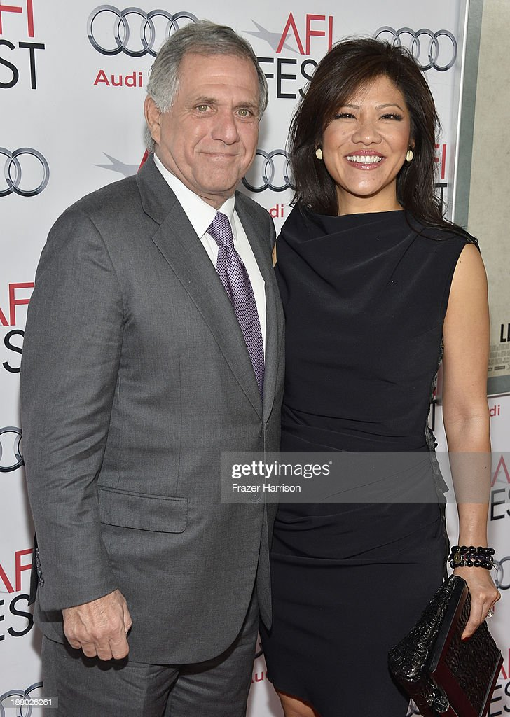 President of CBS, Leslie Moonves (L) and host <a gi-track='captionPersonalityLinkClicked' href=/galleries/search?phrase=Julie+Chen&family=editorial&specificpeople=206213 ng-click='$event.stopPropagation()'>Julie Chen</a> attends the AFI FEST 2013 presented by Audi closing night gala screening of 'Inside Llewyn Davis' at TCL Chinese Theatre on November 14, 2013 in Hollywood, California.
