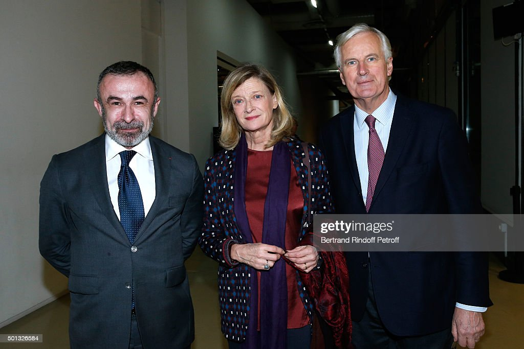 President of Centre Beaubourg, <a gi-track='captionPersonalityLinkClicked' href=/galleries/search?phrase=Alain+Seban&family=editorial&specificpeople=4515859 ng-click='$event.stopPropagation()'>Alain Seban</a>, <a gi-track='captionPersonalityLinkClicked' href=/galleries/search?phrase=Michel+Barnier&family=editorial&specificpeople=220639 ng-click='$event.stopPropagation()'>Michel Barnier</a> and his wife Isabelle attend the Anselm Kiefer's Exhibition : Press Preview, held at Centre Pompidou on December 14, 2015 in Paris, France.
