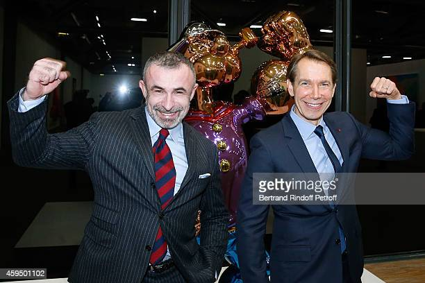President of Centre Pompidou Alain Seban and Contemporary Artist Jeff Koons attend the 'Jeff Koons' Retrospective Exhibition Private Visit at...