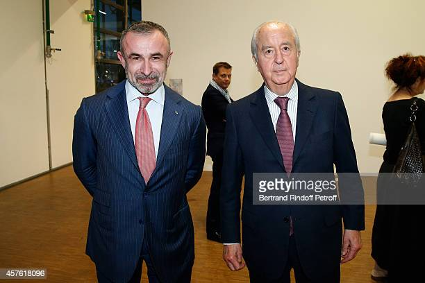 President of Centre Pompidou Alain Seban and Edouard Balladur attend the 'Frank Gehry' Exhibition in the presence of Frank Gehry who was elevated to...