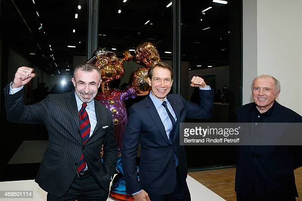 President of Centre Pompidou Alain Seban Contemporary Artist Jeff Koons and Francois Pinault attend the 'Jeff Koons' Retrospective Exhibition Private...