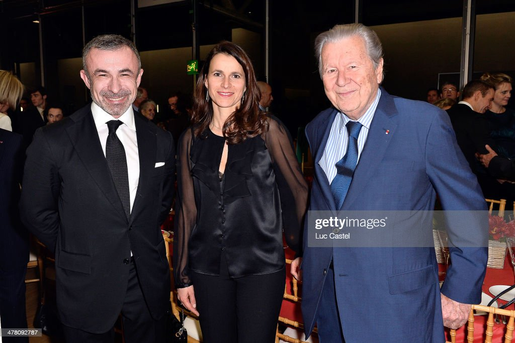 President of Centre Pompidou <a gi-track='captionPersonalityLinkClicked' href=/galleries/search?phrase=Alain+Seban&family=editorial&specificpeople=4515859 ng-click='$event.stopPropagation()'>Alain Seban</a>, French Culture Minister <a gi-track='captionPersonalityLinkClicked' href=/galleries/search?phrase=Aurelie+Filippetti&family=editorial&specificpeople=4273748 ng-click='$event.stopPropagation()'>Aurelie Filippetti</a> and Bruno Roger attend the 'Societe des amis du Musee D'Art Moderne' : Annual Dinner. Held at Centre Pompidou on March 11, 2014 in Paris, France.