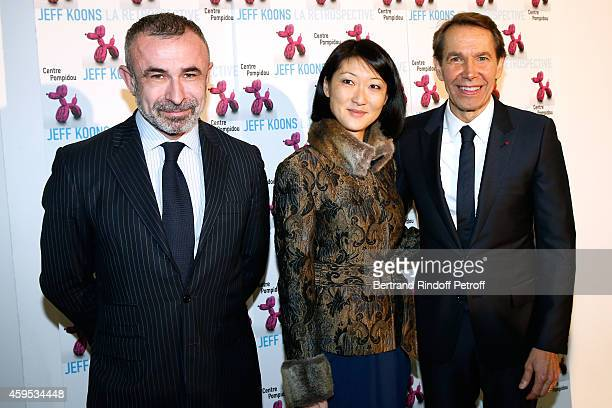 President of Centre Pompidou Alain Seban French minister of Culture and Communication Fleur Pellerin and Artist Jeff Koons attend the 'Jeff Koons'...