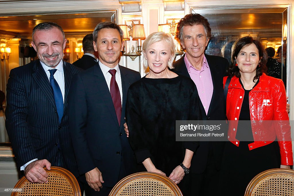 President of Centre Pompidou Alain Seban, President of Monnaie de Paris, Christophe Beaux, Photographer Cindy Sherman, Jack Lang and his daughter Caroline attend the Monnaie De Paris : Reopening Party with Opening of the McCarthy Exhibition - Dinner at Restaurant Laperouse, on October 23, 2014 in Paris, France.