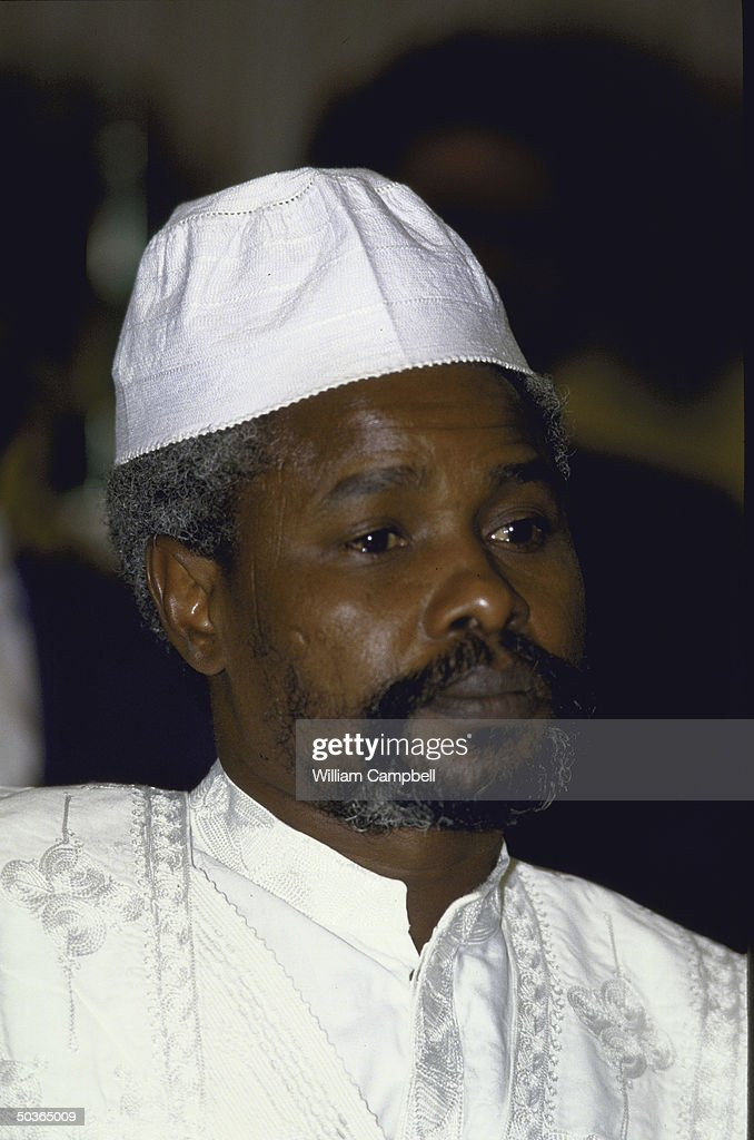 President of Chad <a gi-track='captionPersonalityLinkClicked' href=/galleries/search?phrase=Hissene+Habre&family=editorial&specificpeople=1043137 ng-click='$event.stopPropagation()'>Hissene Habre</a> wearing a white embroidered hat & robe at an OAU meeting.