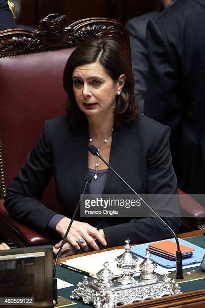 President of Chamber of Deputies Laura Boldrini attends the third session of vote for new President of Republic at the Italian Parliament Palazzo...