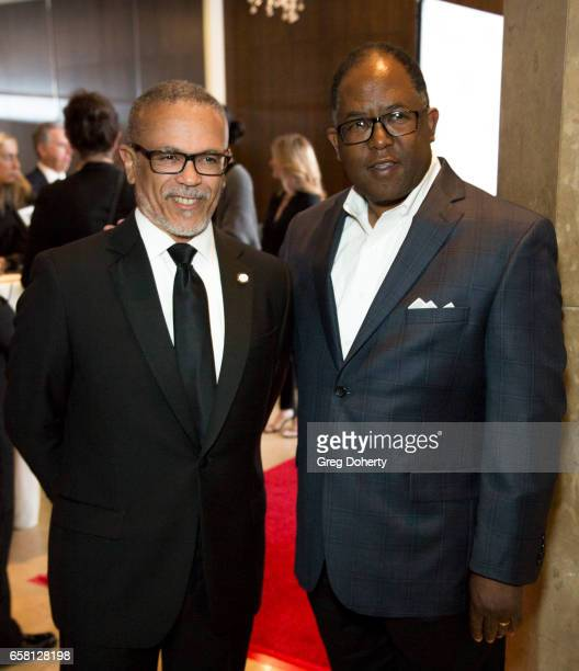 President of Charles R Drew University of Medicine and Science David Carlisle and Los Angeles County Supervisor Mark RidleyThomas arrive at the 35th...