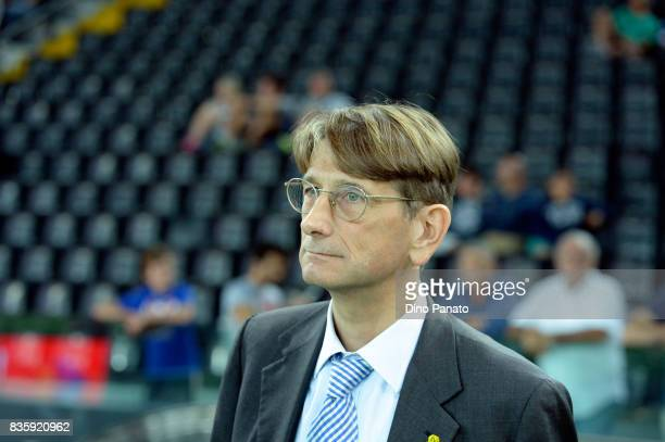 President of Chievo Verona Luca Campedelli looks on during during the Serie A match between Udinese Calcio and AC Chievo Verona at Friuli Stadium on...