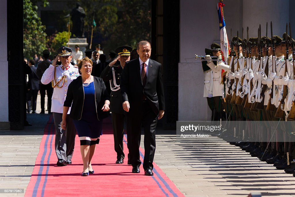 President of Chile Michelle Bachelet (L) and President of Turkey Recep Tayyip Erdogan(R) walk toward Palacio de La Moneda on February 01, 2016 in Santiago, Chile.