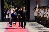 President of Chile Michelle Bachelet and President of Turkey Recep Tayyip Erdogan walk toward Palacio de La Moneda on February 01 2016 in Santiago...