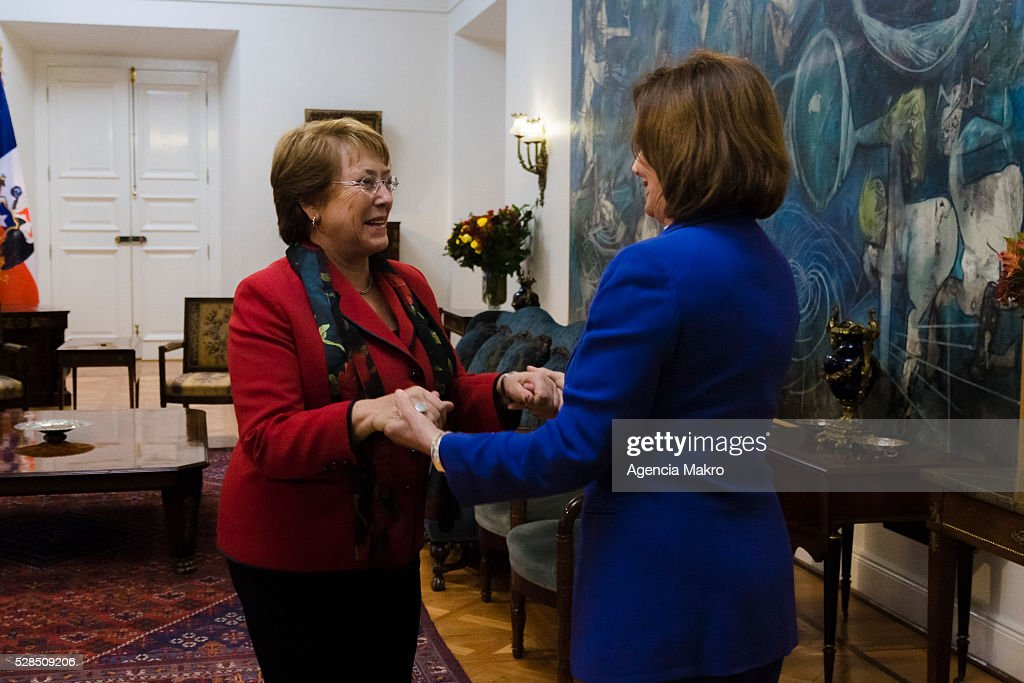 President of Chile Michelle Bachelet (L) greets Nancy Pelosi (R) Democratic Party leader of the House of Representatives of the US at Palacio de La Moneda during an official visit on May 05, 2016, Santiago, Chile.