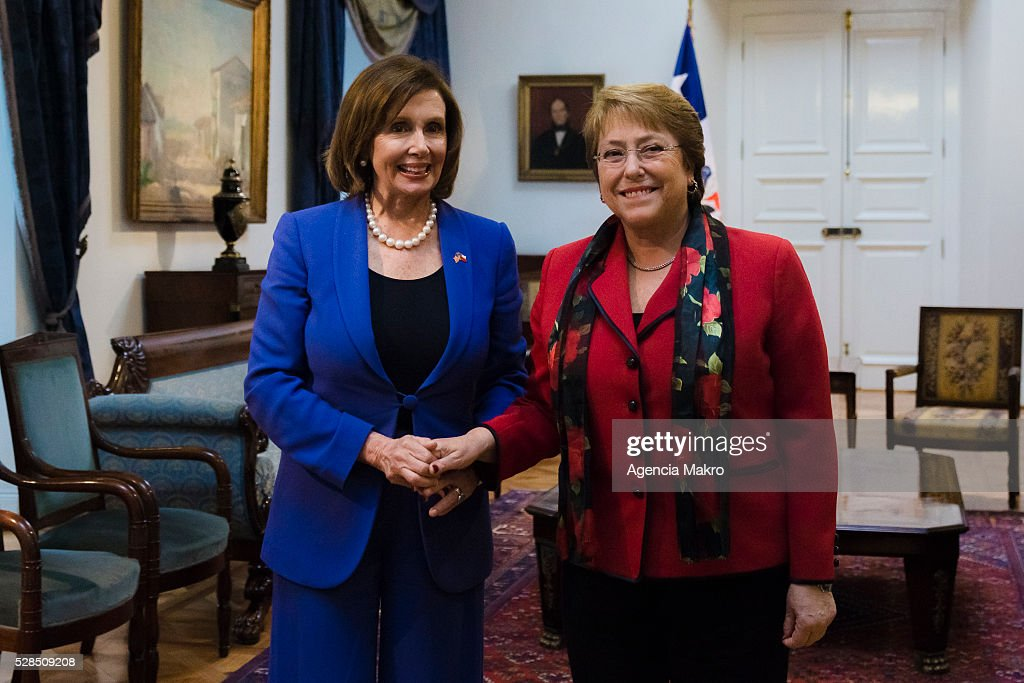 President of Chile Michelle Bachelet (L) poses for pictures with the Nancy Pelosi (R) Democratic Party leader of the House of Representatives of the US, at Palacio de La Moneda during an official visit on May 05, 2016, Santiago, Chile.