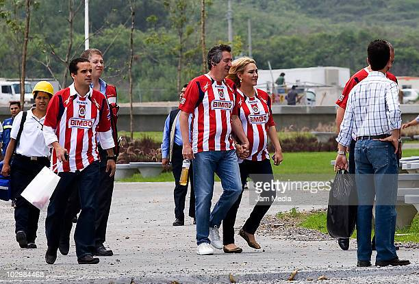 President of Chivas Jorge Vergara and Presidente of Omnilife Angelica Fuentes during the taking of the team's official photo at Pepsi stadium on July...