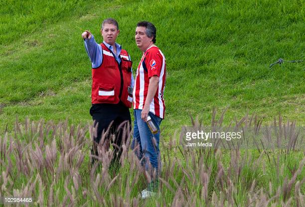 President of Chivas Jorge Vergara during the taking of the team's official photo at Pepsi stadium on July 19 2010 in Guadalajara Mexico