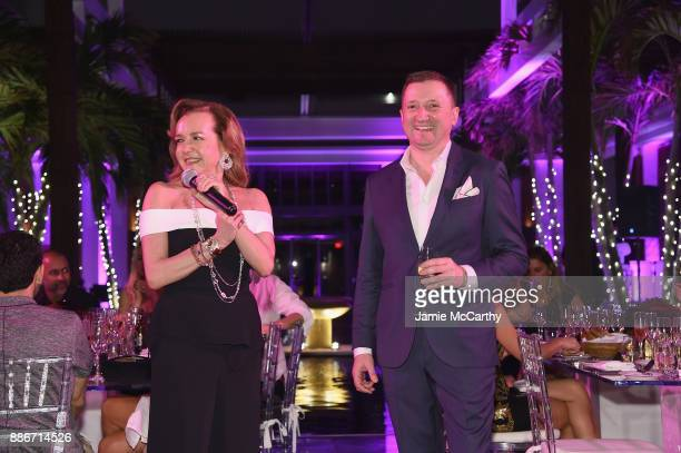 President of Chopard Caroline Scheufele and Armand de Brignac CEO Sebastien Besson speak at Creatures Of The Night LateNight Soiree Hosted By Chopard...