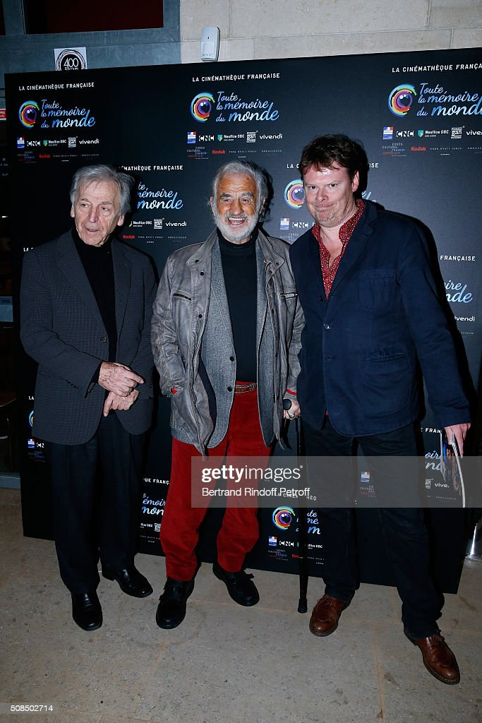 President of Cinematheque Francaise Constantin <a gi-track='captionPersonalityLinkClicked' href=/galleries/search?phrase=Costa-Gavras&family=editorial&specificpeople=213531 ng-click='$event.stopPropagation()'>Costa-Gavras</a>, Actor <a gi-track='captionPersonalityLinkClicked' href=/galleries/search?phrase=Jean-Paul+Belmondo&family=editorial&specificpeople=207029 ng-click='$event.stopPropagation()'>Jean-Paul Belmondo</a> and General Director of Cinematheque Francaise Frederic Bonnaud attend <a gi-track='captionPersonalityLinkClicked' href=/galleries/search?phrase=Jean-Paul+Belmondo&family=editorial&specificpeople=207029 ng-click='$event.stopPropagation()'>Jean-Paul Belmondo</a> presents the 'Leon Morin Pretre' screening at Cinematheque Francaise on February 4, 2016 in Paris, France.