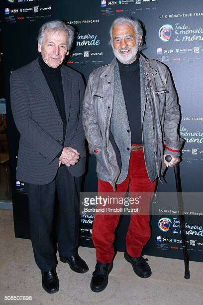 President of Cinematheque Francaise Constantin CostaGavras and Actor JeanPaul Belmondo attend JeanPaul Belmondo presents the 'Leon Morin Pretre'...