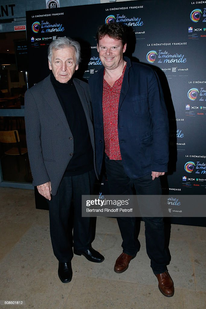President of Cinematheque Francaise Constantin <a gi-track='captionPersonalityLinkClicked' href=/galleries/search?phrase=Costa-Gavras&family=editorial&specificpeople=213531 ng-click='$event.stopPropagation()'>Costa-Gavras</a> and General Director of Cinematheque Francaise Frederic Bonnaud attend Jean-Paul Belmondo presents the 'Leon Morin Pretre' screening at Cinematheque Francaise on February 4, 2016 in Paris, France.