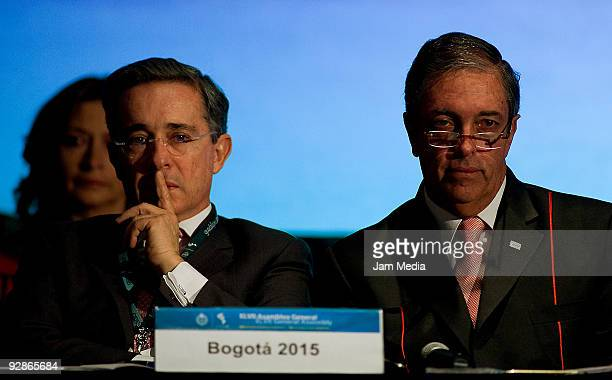 President of Colombia Alvaro Uribe during the XLVII Pan American Sports Organization General Assembly at the Hilton hotel on November 6 2009 in...