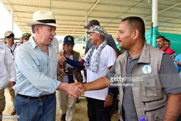 President of Colombia Juan Manuel Santos and Colombian High Commissioner for the Peace Sergio Jaramillo visit La Carmelita area in Putumayo...