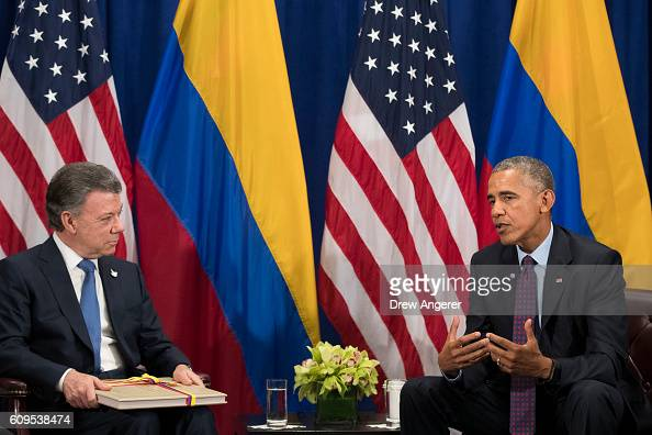 President of Colombia Juan Manuel Santos and US President Barack Obama meet during a bilateral meeting at the Lotte New York Palace Hotel September...