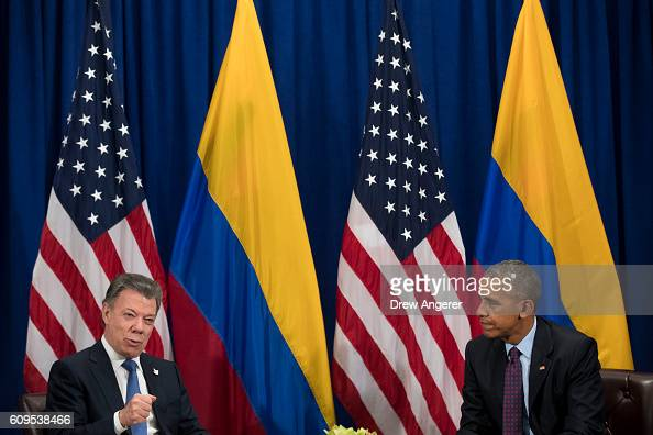 President of Colombia Juan Manuel Santos speaks during a bilateral meeting with US President Barack Obama at the Lotte New York Palace Hotel...