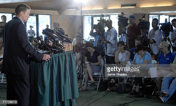 President of ComAir Don Bornhorst addresses the media about Comair Flight 5191 that crashed shortly after departure from Blue Grass Airport August 27...