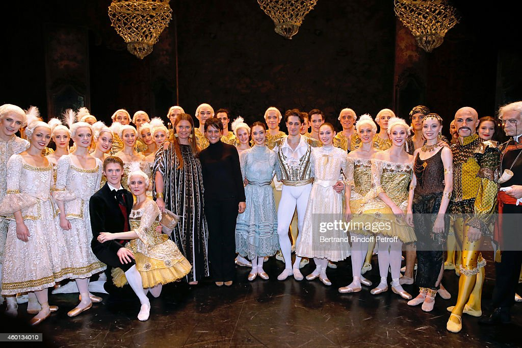 President of committee 'Reve d'enfants 2014' Karin Rudnicki-Schlumberger (5th L), Spokesman of the French Government Najat Vallaud-Belkacem (6th L), Star Dancers Mathieu Ganio (8th L) and Dorothee Gilbert (9th L) pose with the troup after the Ballet 'Casse Noisette' during the Matinee 'Reve d'enfants' with Ballet 'Casse Noisette'. Organized by AROP at Opera Bastille on December 7, 2014 in Paris, France.