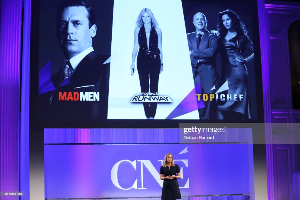 President of Conde Nast Entertainment <a gi-track='captionPersonalityLinkClicked' href=/galleries/search?phrase=Dawn+Ostroff&family=editorial&specificpeople=239016 ng-click='$event.stopPropagation()'>Dawn Ostroff</a> speaks at the Conde Nast Entertainment NewFront presentation on May 1, 2013 in New York City. CNE announced the addition of original programming to their digital network including slates inspired by Vogue and Wired, six new series inspired by Glamour and GQ for those channels which launched in March, and additional channels to be added later this year including Vanity Fair, Teen Vogue, Epicurious and Style.com.