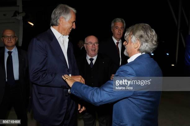 President of CONI Giovanni Malag President of Italian Football Federation Carlo Tavecchio and Massimo Ferrero President of US Sampdoria during the...