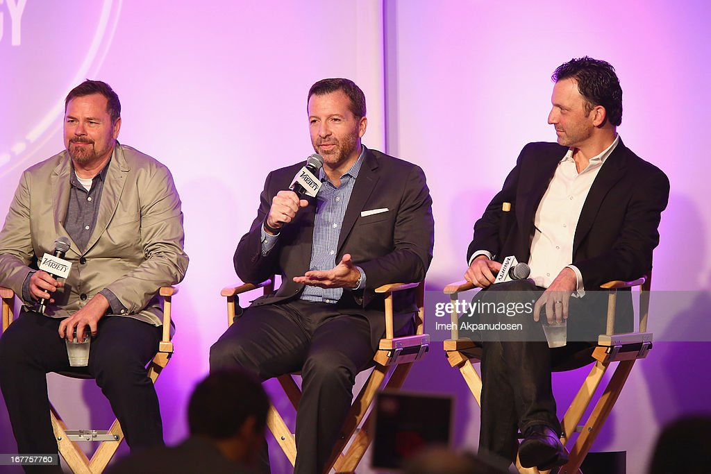 President of Content Development and Production Nickelodeon Group Russell Hicks, President Digital NBC Universal Nicholas Lehman and President Digital at Fox Broadcasting David Wertheimer speak onstage at Variety's Spring 2013 Entertainment and Technology Summit Co-Produced with Digital Hollywood at Ritz Carlton Marina Del Rey on April 29, 2013 in Marina del Rey, California.