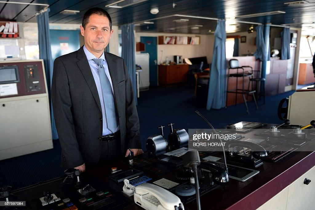 President de Corsica-Linea company Pascal Trojani, poses at the Jean Nicoli vessel's commander post on May 3, 2016 in Marseille, southern France, during the new mediteranean shipping line. / AFP / BORIS
