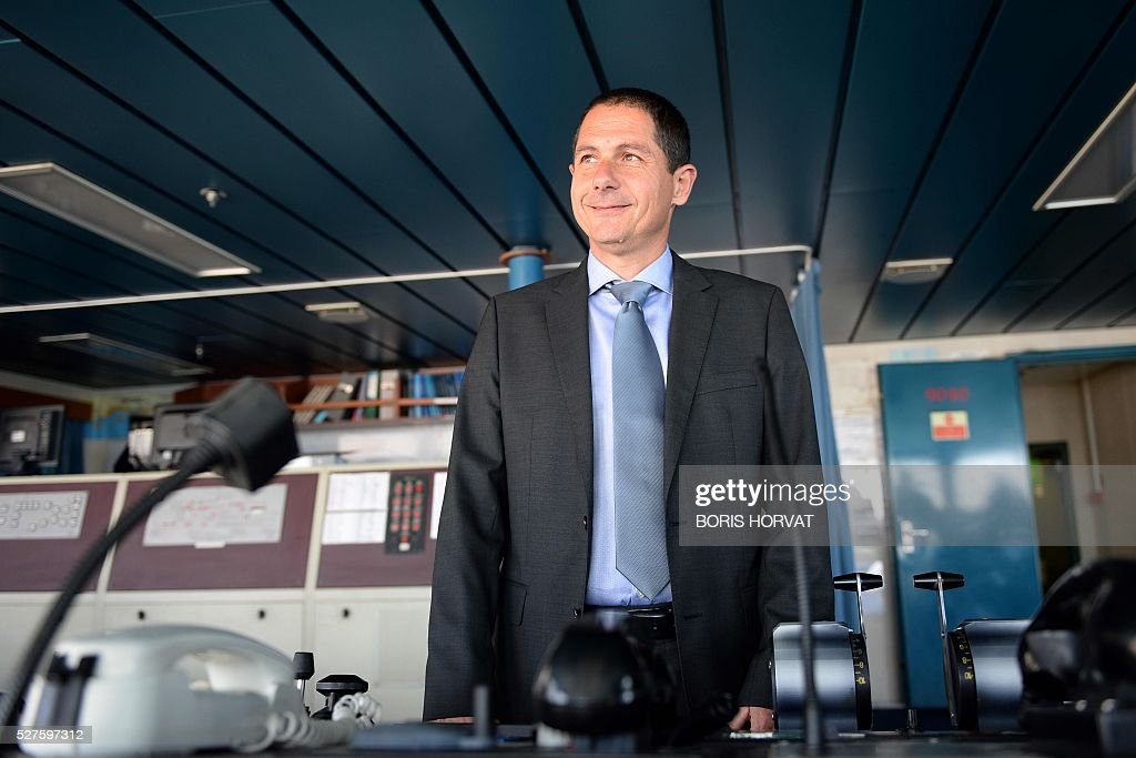 President of Corsica-Linea company Pascal Trojani, poses at the Jean Nicoli vessel's commander post on May 3, 2016 in Marseille, southern France, during the new mediteranean shipping line presentation. / AFP / BORIS