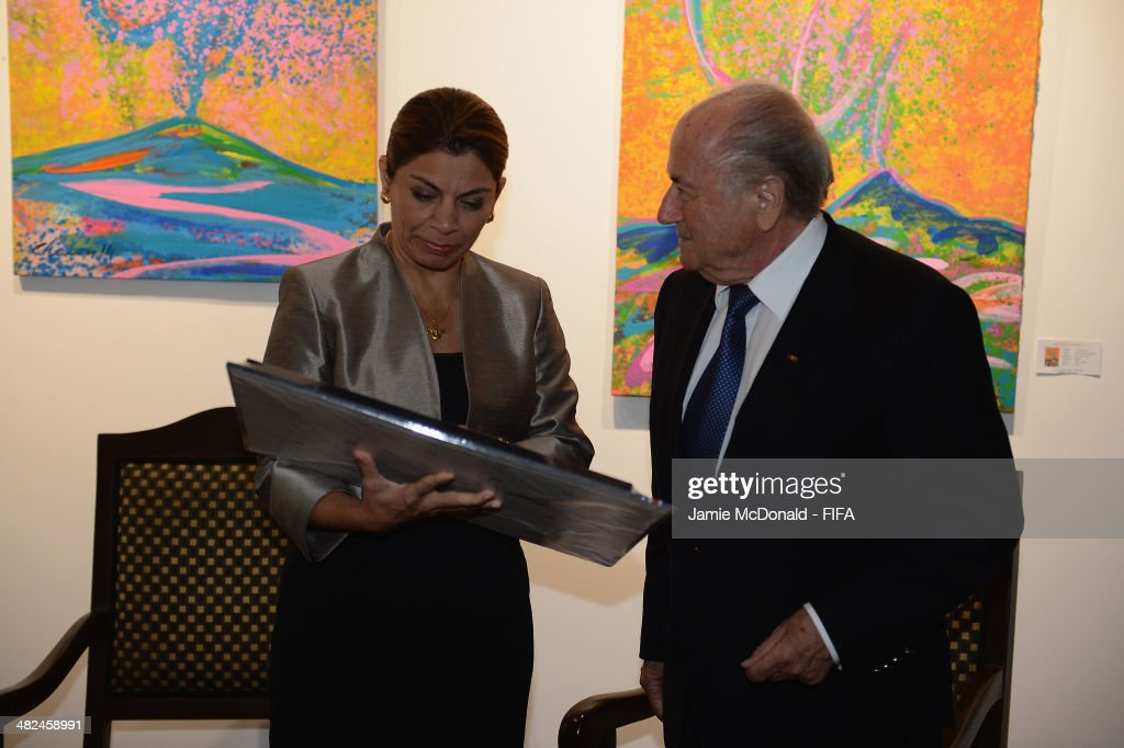 President of Costa Rica Laura Chinchilla Miranda and FIFA President Joseph S Blatter attend the FIFA banquet at the Country Club on April 3 2014 in...