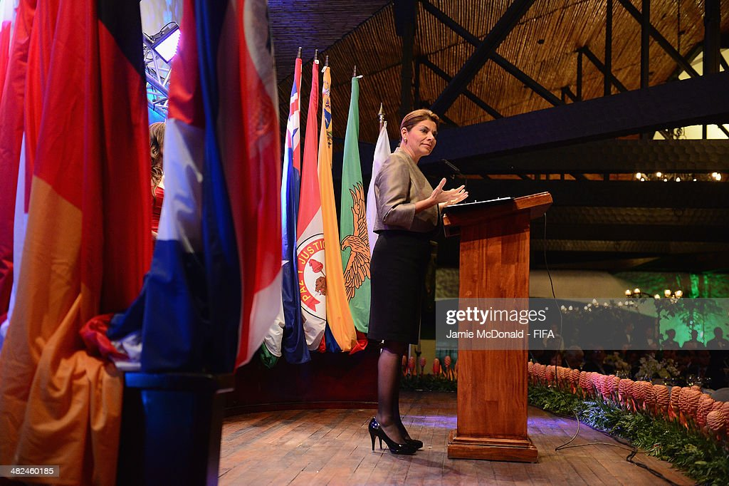 President of Costa Rica Laura Chinchilla Miranda attends the FIFA banquet at the Country Club on April 3 2014 in San Jose Costa Rica