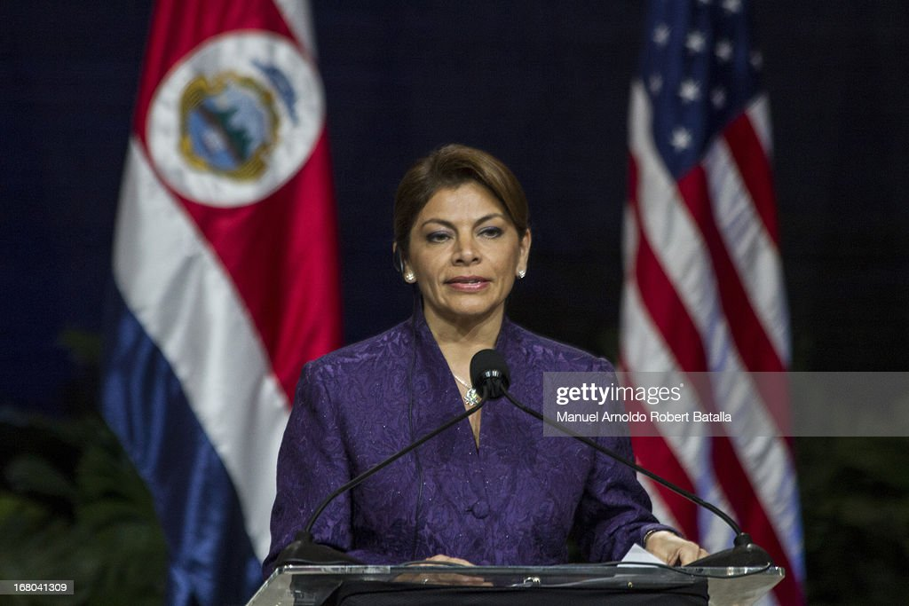 President of Costa Rica Laura Chinchilla speaks during a press conference with the US President Barack Obama on May 3 2013 in San Jose Costa Rica