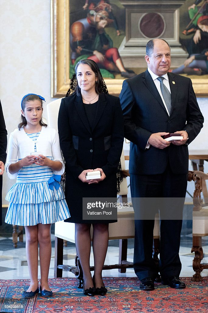 President of Costa Rica, Luis Guillermo Sols Rivera, accompanied by his wife and daughter, attends an audience with Pope Francis at the Apostolic Palace, on May 27, 2016 in Vatican City, Vatican. The two leaders spoke about several themes of common interest, including the protection of human life, migration, and drug trafficking.