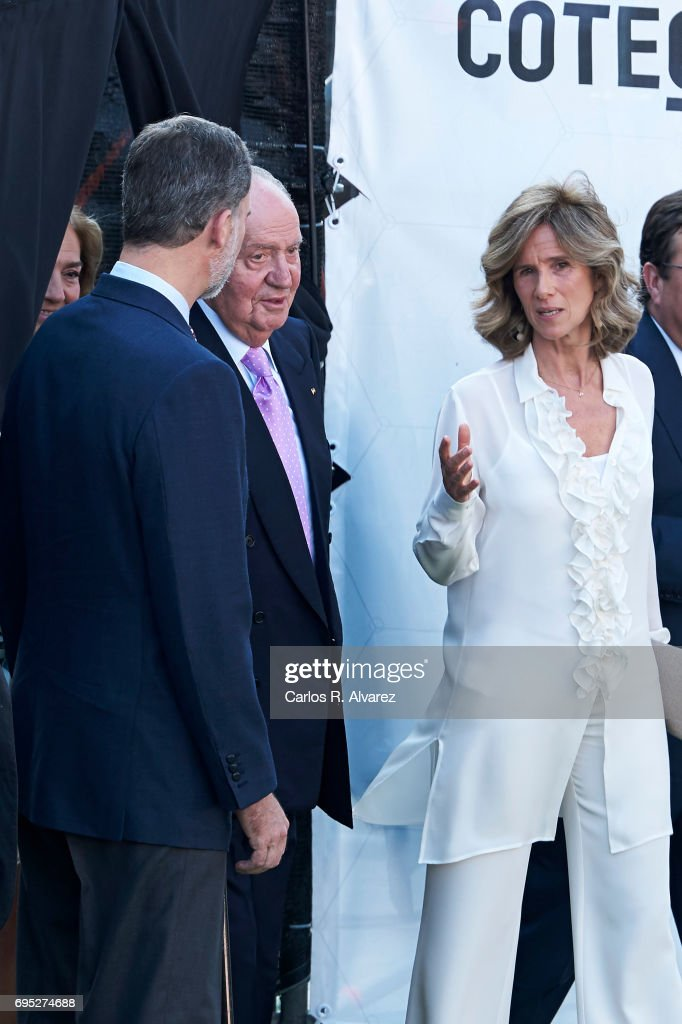 President of COTEC Foundation Cristina Garmendia (R) King Juan Carlos (C) and King Felipe VI of Spain (L) attend COTECT event at the Vicente Calderon Stadium on June 12, 2017 in Madrid, Spain.