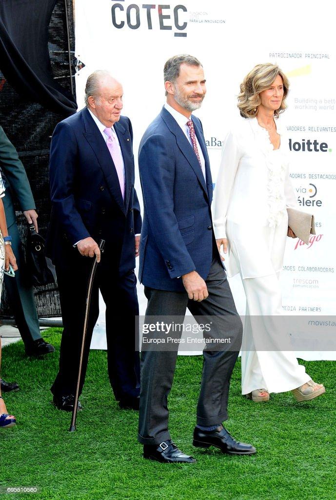 President of COTEC Foundation Cristina Garmendia (R) King Juan Carlos (L) and King Felipe VI of Spain (C) attend COTECT event at Vicente Calderon Stadium on June 12, 2017 in Madrid, Spain.