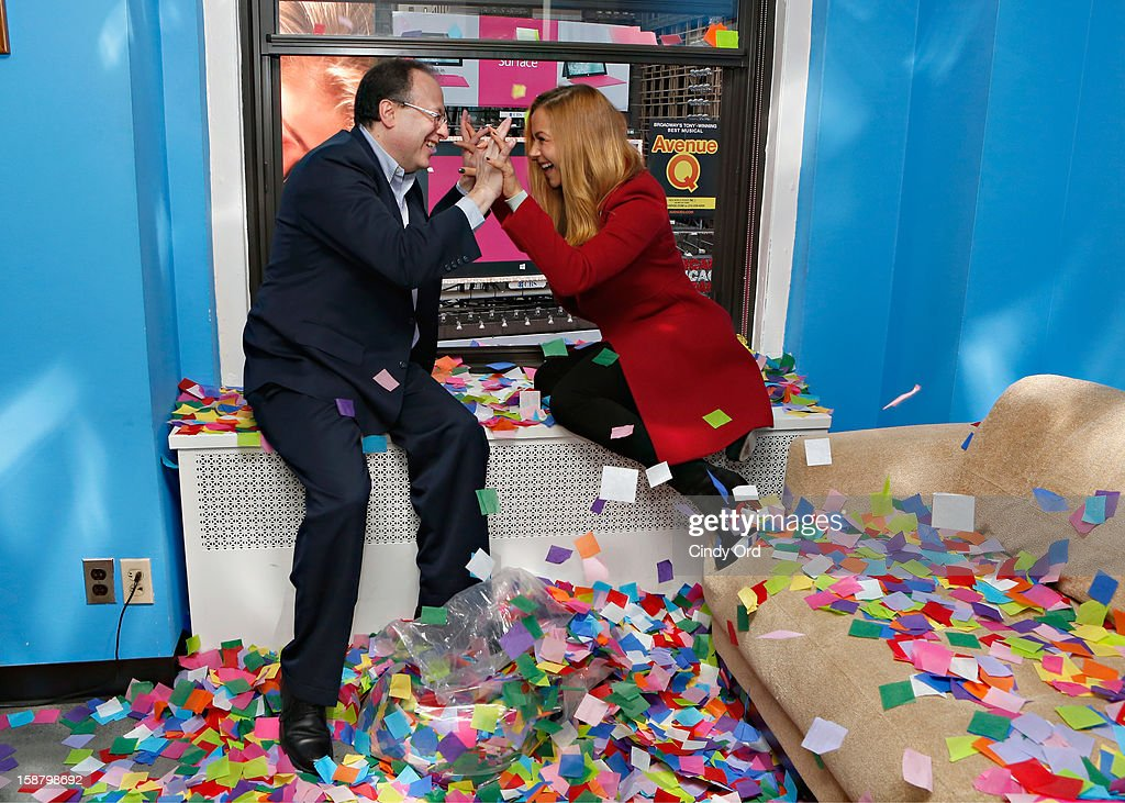 President of Countdown Entertainment Jeff Straus and TV personality Allison Hagendorf participate in the New Year's Eve 2013 Confetti Airworthiness Test at Times Square Alliance Building on December 29, 2012 in New York City.