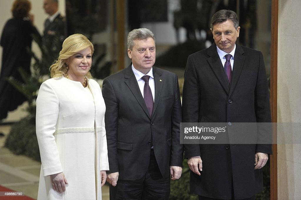 President of Croatia, Kolinda Grabar Kitarovic (L) and President of Slovenia Borut Pahor (R) welcome Macedonian President <a gi-track='captionPersonalityLinkClicked' href=/galleries/search?phrase=Gjorge+Ivanov+-+President&family=editorial&specificpeople=12777955 ng-click='$event.stopPropagation()'>Gjorge Ivanov</a> (C) during a welcoming ceremony for participant leaders before Brdo-Brijuni Process Leader Meeting in Zagreb, Croatia on November 25, 2015.