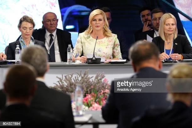 President of Croatia Kolinda GrabarKitarovic speaks during the 21st Southeast European Cooperation Process Summit in Zagreb Croatia on June 30 2017