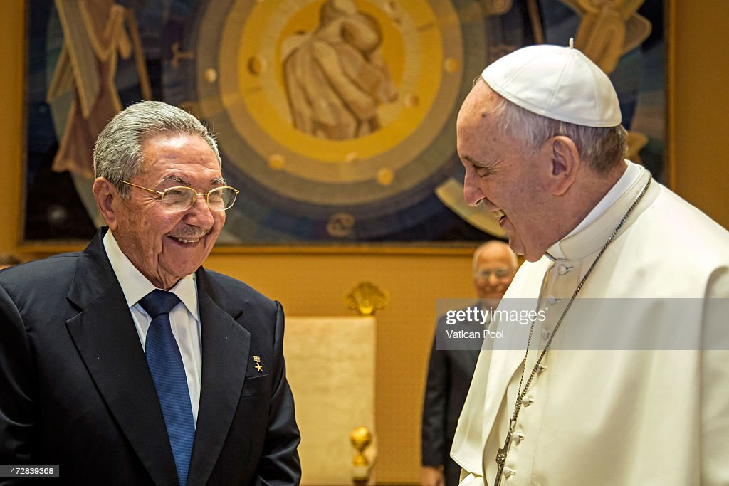 President of Cuba Raul Castro and Pope Francis meet at the Paul VI Hall private studio during a private audience on May 10 2015 in Vatican City...