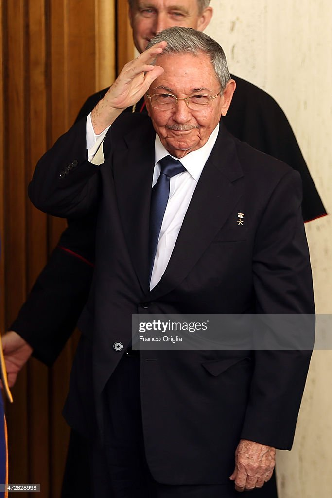 President of Cuba <a gi-track='captionPersonalityLinkClicked' href=/galleries/search?phrase=Raul+Castro&family=editorial&specificpeople=239452 ng-click='$event.stopPropagation()'>Raul Castro</a> arrives at the Paul VI Hall private studio for a private audience with Pope Francis on May 10, 2015 in Vatican City, Vatican.