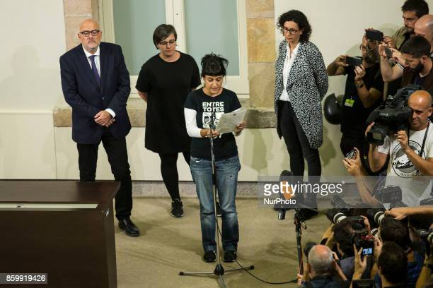 President of CUP Anna Gabriel reading the declaration of Independence In Barcelona on October 10 of 2017
