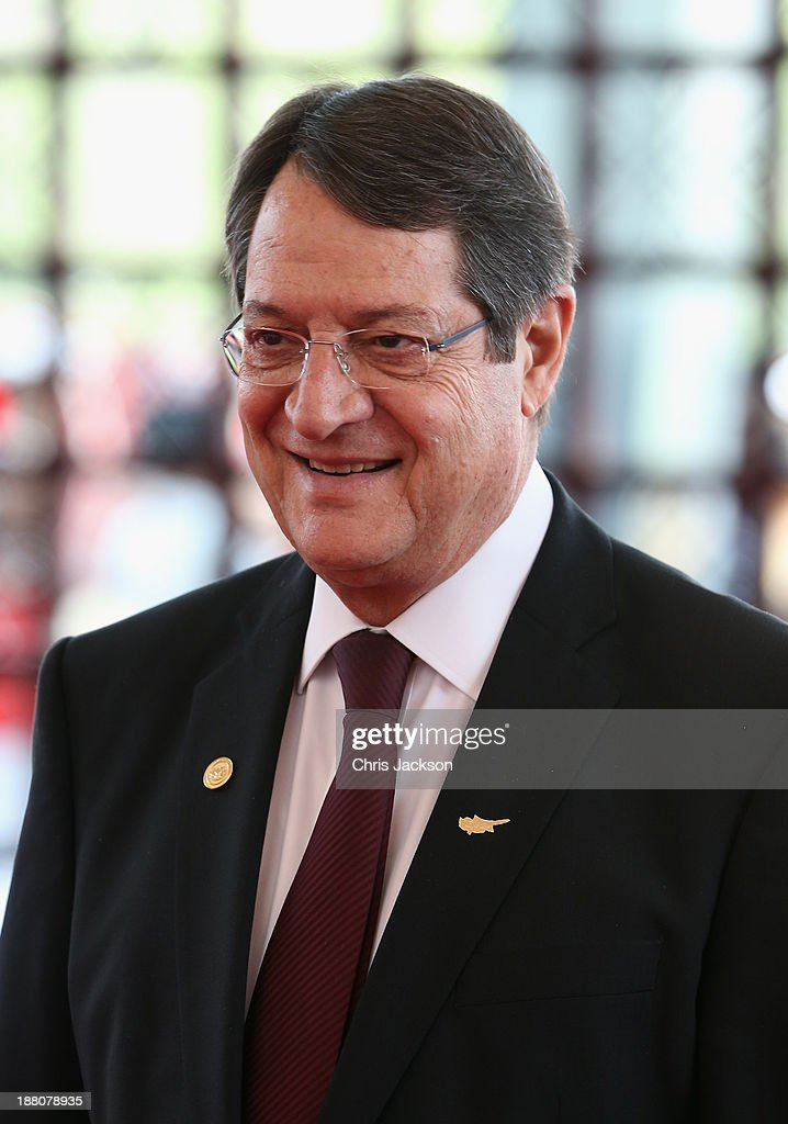 President of Cyprus <a gi-track='captionPersonalityLinkClicked' href=/galleries/search?phrase=Nicos+Anastasiades&family=editorial&specificpeople=10113933 ng-click='$event.stopPropagation()'>Nicos Anastasiades</a> arrives for the Commonwealth Heads of Government 2013 Opening Ceremony on November 15, 2013 in Colombo, Sri Lanka. The biannual Commonwealth Heads of Government Meeting (CHOGM) is taking place from November 15-17, amid pressure from human rights groups urging leaders to boycott the summit until Sri Lanka further investigates charges of war crimes. Both the Canadian Prime Minister, Stephen Harper and Indian Prime Minister, Manmohan Signh have confirmed they will not attend.