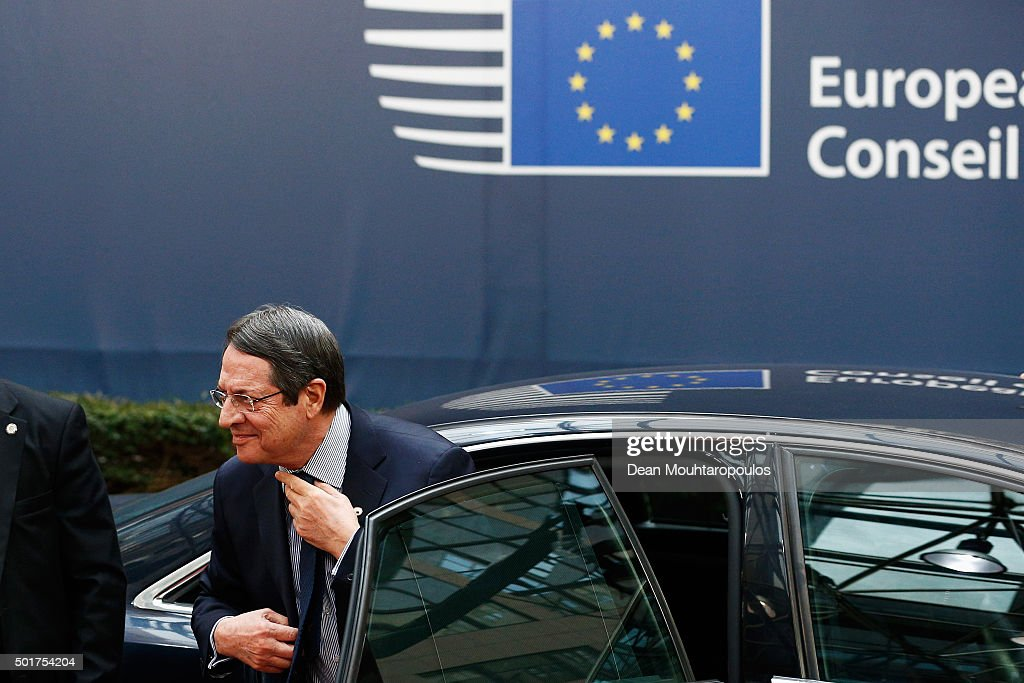 President of Cyprus, <a gi-track='captionPersonalityLinkClicked' href=/galleries/search?phrase=Nicos+Anastasiades&family=editorial&specificpeople=10113933 ng-click='$event.stopPropagation()'>Nicos Anastasiades</a> arrives for The European Council Meeting In Brussels held at the Justus Lipsius Building on December 17, 2015 in Brussels, Belgium. European leaders are meeting to discuss David Camerons proposed EU reforms, as well as focussing on the migrant crisis, the fight against terrorism and climate change.